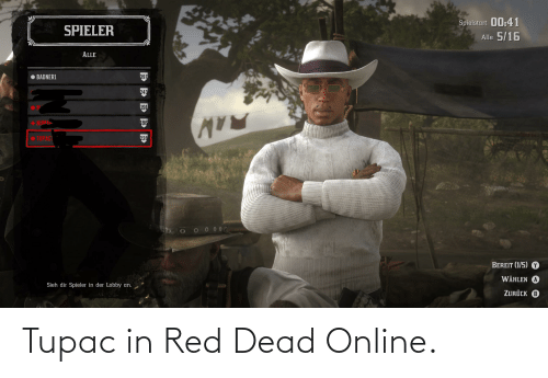 Tupac: Tupac in Red Dead Online.