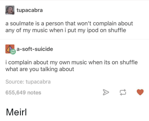 Music, Ipod, and Suicide: tupacabra  a soulmate is a person that won't complain about  any of my music when i put my ipod on shuffle  a-soft-suicide  i complain about my own music when its on shuffle  what are you talking about  Source: tupacabra  655,649 notes Meirl
