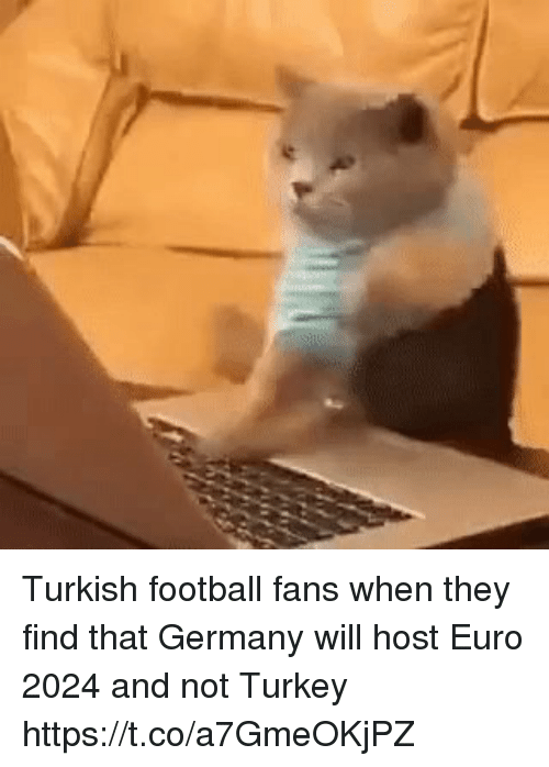 Football, Memes, and Euro: Turkish football fans when they find that Germany will host Euro 2024 and not Turkey https://t.co/a7GmeOKjPZ