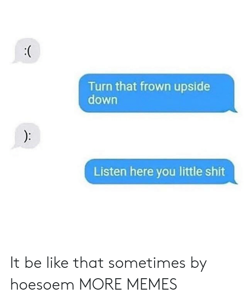frown: Turn that frown upside  down  Listen here you little shit It be like that sometimes by hoesoem MORE MEMES