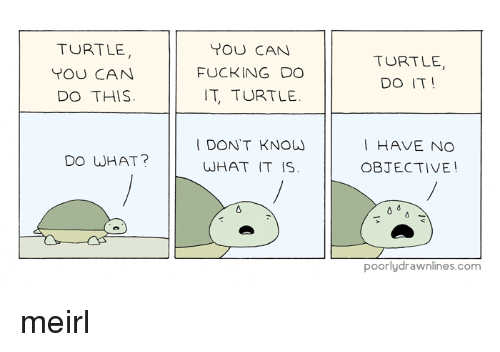Turtle Turtle: TURTLE  YOU CAN  DO THIS  YOU CAN  FUCKING DO  T, TURTLE  TURTLE,  DO IT!  I DON'T KNOW  WHAT IT IS  I HAVE NO  OBJECTIVE!  DO WHAT?  poorlydrawnlines.com meirl