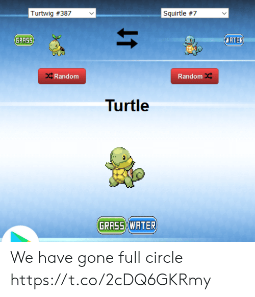 Turtle, Water, and Random: Turtwig #387  Squirtle #7  WATER  GRASS  CRandom  Random  Turtle  GRASS WATER We have gone full circle https://t.co/2cDQ6GKRmy