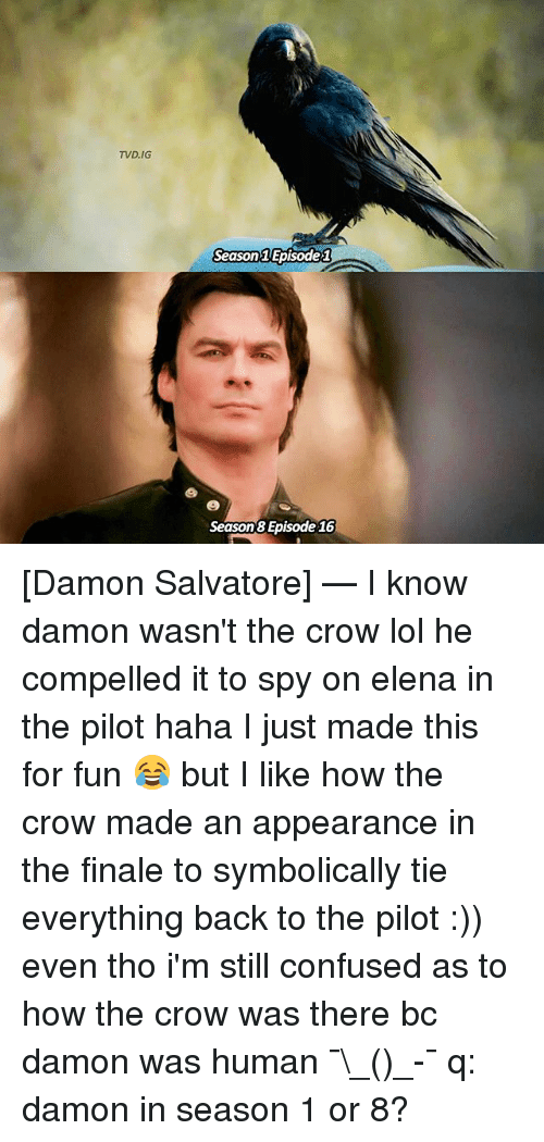 episode 1: TVD, IG  Season Episode 1  Season Episode 16 [Damon Salvatore] — I know damon wasn't the crow lol he compelled it to spy on elena in the pilot haha I just made this for fun 😂 but I like how the crow made an appearance in the finale to symbolically tie everything back to the pilot :)) even tho i'm still confused as to how the crow was there bc damon was human ¯\_(ツ)_-¯ q: damon in season 1 or 8?