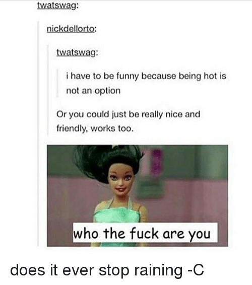 Funny, Memes, and Fuck: twatswa:  nickdellorto:  twatswag:  i have to be funny because being hot is  not an option  Or you could just be really nice and  friendly, works too.  who the fuck are you does it ever stop raining -C