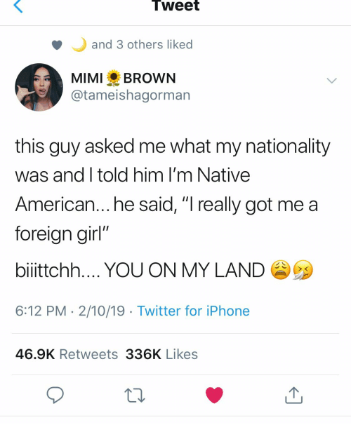 "Nationality: Tweet  and 3 others liked  MIMI BROWN  @tameishagorman  this guy asked me what my nationality  was and I told him I'm Native  American... he said, ""I really got me a  foreian girl""  bilttchh YOU ON MY LAND  6:12 PM 2/10/19 Twitter for iPhone  46.9K Retweets 336K Likes"
