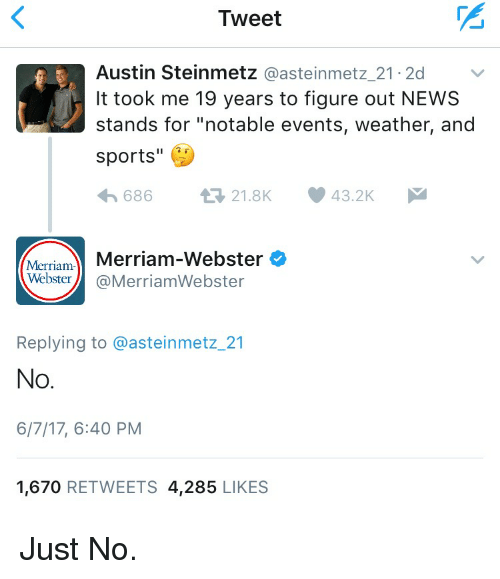 """merriam webster: Tweet  Austin Steinmetz  @asteinmetz 21.2d  It took me 19 years to figure out NEWS  stands for """"notable events, weather, and  sports  43.2K  t 21.8K  686  Merriam-Webster  Merriam  Webster  @Merriam Webster  Replying to @asteinmetz 21  No  6/7/17, 6:40 PM  1,670  RETWEETS 4,285  LIKES Just No."""