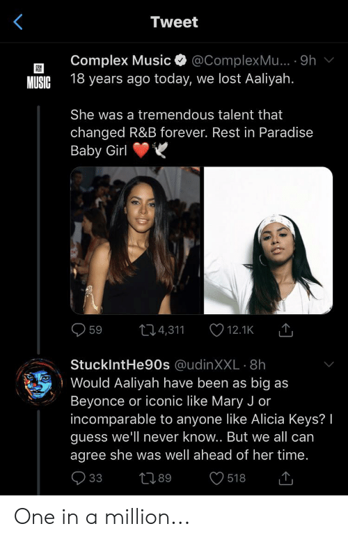 mary j: Tweet  Complex Music  @ComplexMu... 9h  18 years ago today, we lost Aaliyah.  MUSIC  She was a tremendous talent that  changed R&B forever. Rest in Paradise  Baby Girl  12.1K  4,311  59  StuckIntHe90s @udinXXL8h  Would Aaliyah have been as big as  Beyonce or iconic like Mary J or  incomparable to anyone like Alicia Keys? I  guess we'll never know.. But we all can  agree she was well ahead of her time.  33  t89  518 One in a million...