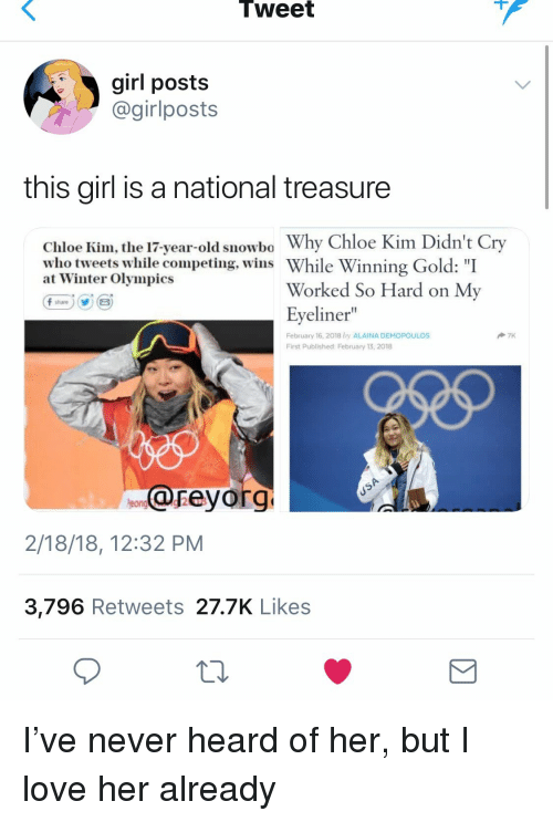 """Love, Winter, and Girl: Tweet  girl posts  @girlposts  this girl is a national treasure  Chloe Kim, the 17-year-old snowbo Why Chloe Kim Didn't Cry  who tweets while competing, wins While Winning Gold """"I  at Winter Olympics  Worked So Hard on My  Eyeliner""""  February 16, 2018 by ALAINA DEMOPOULOS  First Published February 13, 2018  reyorg  2/18/18, 12:32 PM  3,796 Retweets 27.7K Likes I've never heard of her, but I love her already"""
