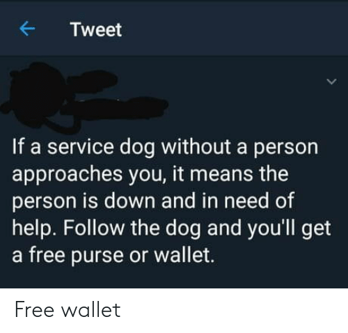 purse: Tweet  If a service dog without a person  approaches you, it means the  person is down and in need of  help. Follow the dog and you'll get  a free purse or wallet. Free wallet