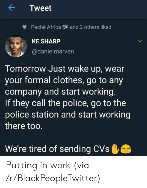 CVS: Tweet  Peché Africa  and 2 others liked  KE SHARP  @danielmarven  Tomorrow Just wake up, wear  your formal clothes, go to any  company and start working.  If they call the police, go to the  police station and start working  there too.  We're tired of sending CVs Putting in work (via /r/BlackPeopleTwitter)