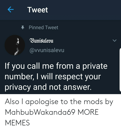Dank, Memes, and Respect: Tweet  Pinned Tweet  @vvunisalevu  If you call me from a private  number, I will respect your  privacy and not answer. Also I apologise to the mods by MahbubWakanda69 MORE MEMES