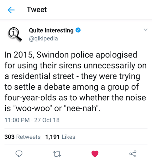"Police, Quite, and Debate: Tweet  Quite Interesting  @qikipedia  1  In 2015, Swindon police apologised  for using their sirens unnecessarily on  a residential street - they were trying  to settle a debate among a group of  four-year-olds as to whether the noise  IS WOO-WOO or nee-nah""  11:00 PM 27 Oct 18  Il  Il  1I  303 Retweets 1,191 Likes  o D"