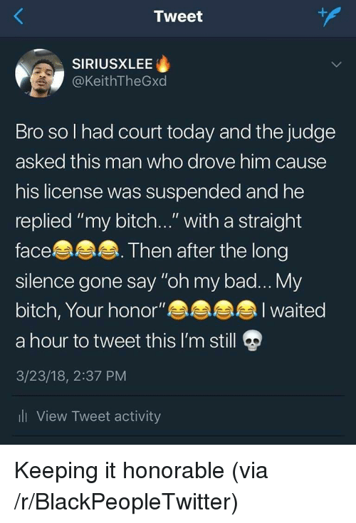 "honorable: Tweet  SIRIUSXLEE  @KeithTheGxd  Bro so l had court today and the judge  asked this man who drove him cause  his license was suspended and he  replied ""my bitch..."" with a straight  face  silence gone say ""oh my bad... My  bitch, Your honor""  a hour to tweet this I'm still  3/23/18, 2:37 PM  li View Tweet activity  Then after the long  I waited Keeping it honorable (via /r/BlackPeopleTwitter)"