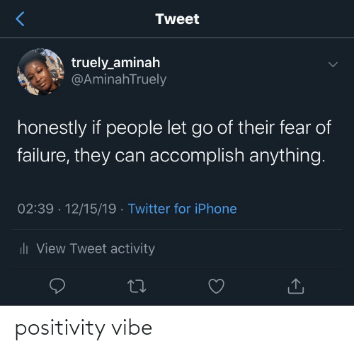 positivity: Tweet  truely_aminah  @AminahTruely  honestly if people let go of their fear of  failure, they can accomplish anything.  02:39 · 12/15/19 · Twitter for iPhone  uli View Tweet activity positivity vibe