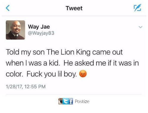 Fuck You, Memes, and The Lion King: Tweet  Way Jae  @Wayjay83  Told my son The Lion King came out  when I was a kid. He asked me if it was in  color. Fuck you lil boy.  1/28/17, 12:55 PM  Postize