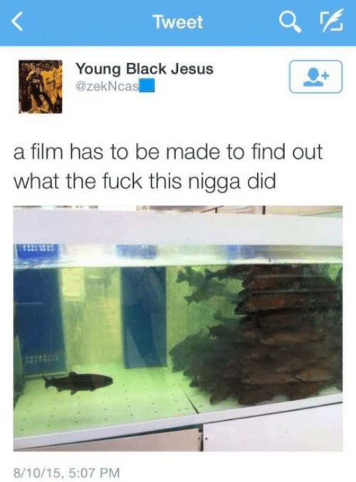 nigga: Tweet  Young Black Jesus  @zekNcas  a film has to be made to find out  what the fuck this nigga did  8/10/15, 5:07 PM