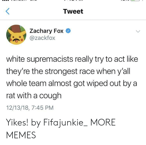 Dank, Memes, and Target: Tweet  Zachary Fox  @zackfox  white supremacists really try to act like  they're the strongest race when y'all  whole team almost got wiped out by a  rat with a cough  12/13/18, 7:45 PM Yikes! by Fifajunkie_ MORE MEMES