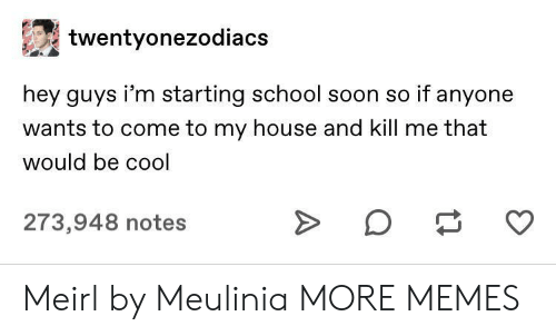 Dank, Memes, and My House: twentyonezodiacs  hey guys i'm starting school soon so if anyone  wants to come to my house and kill me that  would be cool  273,948 notes Meirl by Meulinia MORE MEMES