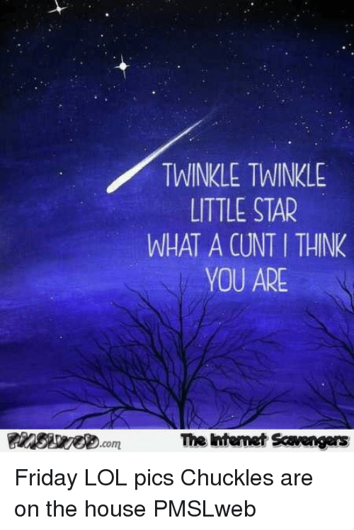 Friday, Lol, and Cunt: TWINKLE TWINKLE  LITTLE STAR  WHAT A CUNT I THINK  YOU ARE  The Intemet Scavengers <p>Friday LOL pics  Chuckles are on the house  PMSLweb </p>