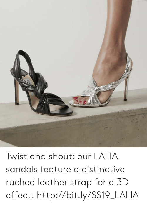 Sandals: Twist and shout: our LALIA sandals feature a distinctive ruched leather strap for a 3D effect. http://bit.ly/SS19_LALIA