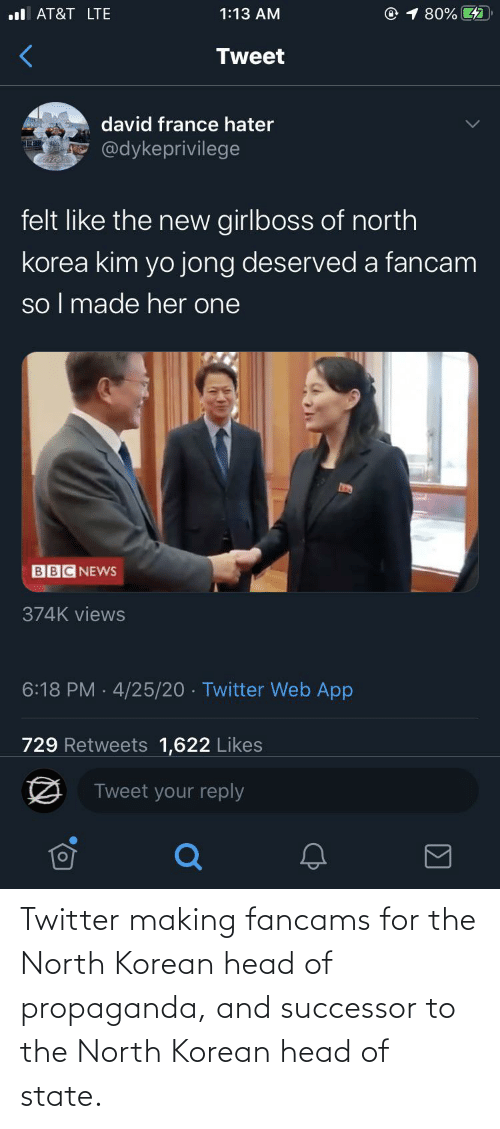 Successor: Twitter making fancams for the North Korean head of propaganda, and successor to the North Korean head of state.