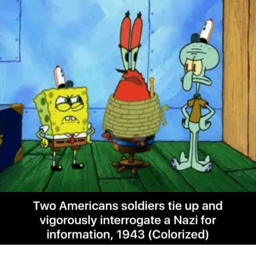 Soldiers, Information, and Nazi: Two Americans soldiers tie up and  vigorously interrogate a Nazi for  information, 1943 (Colorized)