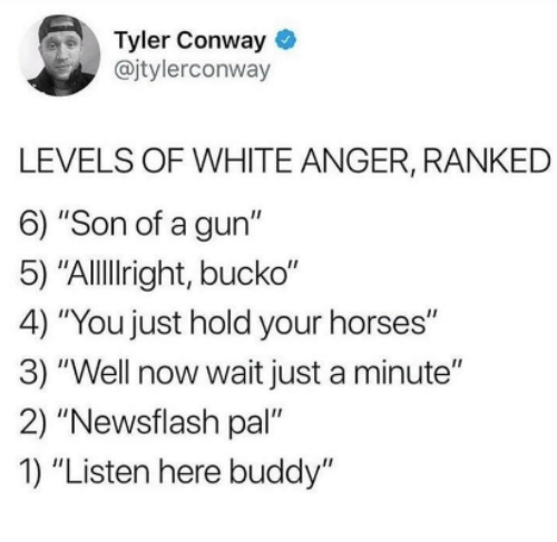 """Conway, Horses, and White: Tyler Conway  @jtylerconway  LEVELS OF WHITE ANGER, RANKED  6) """"Son of a gun""""  5) """"Allllright, bucko""""  4) """"You just hold your horses""""  3) """"Well now wait just a minute""""  2) """"Newsflash pal""""  1) """"Listen here buddy"""""""