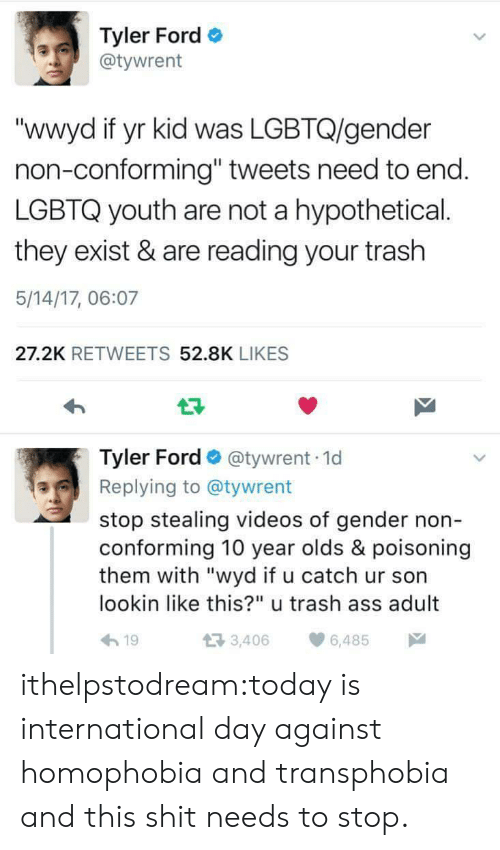 "Tweets: Tyler Ford  @tywrent  ""wwyd if yr kid was LGBTQ/gender  non-conforming"" tweets need to end  LGBTQ youth are not a hypothetical.  they exist & are reading your trash  5/14/17, 06:07  27.2K RETWEETS 52.8K LIKES  Tyler Ford @tywrent 1d  Replying to @tywrent  stop stealing videos of gender non  conforming 10 year olds & poisoning  them with ""wyd if u catch ur son  lookin like this?"" u trash ass adult  h19  3,406 6,485 ithelpstodream:today is international day against homophobia and transphobia and this shit needs to stop."