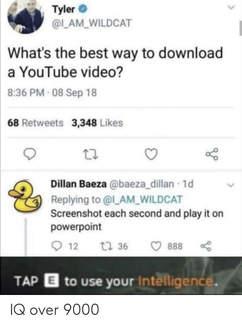 Youtube Video: Tyler  @L_AM_WILDCAT  What's the best way to download  a YouTube video?  8:36 PM- 08 Sep 18  68 Retweets 3,348 Likes  Dillan Baeza @baeza_dillan 1d  Replying to @l_AM_WILDCAT  Screenshot each second and play it on  powerpoint  12  t 36  888  TAP E to use your Intelligence. IQ over 9000