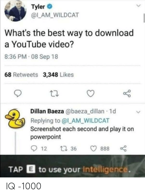 lam: Tyler  @LAM WILDCAT  What's the best way to download  a YouTube video?  8:36 PM 08 Sep 18  68 Retweets 3,348 Likes  Dillan Baeza @baeza_dillan 1d  Replying to @l_AM_WILDCAT  Screenshot each second and play it on  powerpoint  12  t 36  888  TAP E to use your Intelligence. IQ -1000