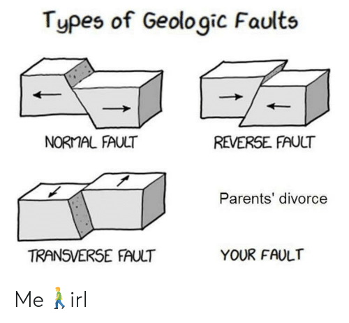 Parents, Divorce, and Normal: Types of Geologic Faults  NORMAL FAULT  REVERSE FAULT  Parents' divorce  TRANSVERSE FAULT  YOUR FAULT Me🚶‍♂️irl