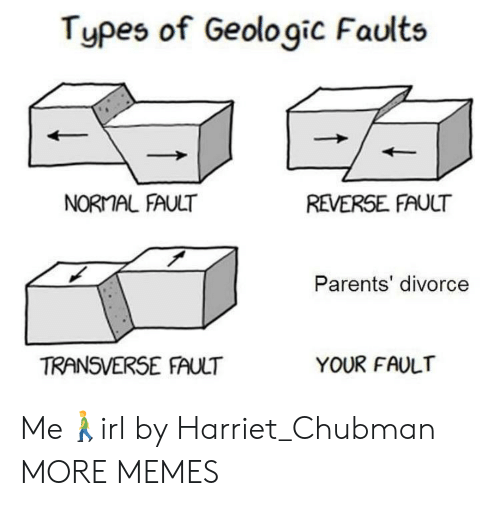 Dank, Memes, and Parents: Types of Geologic Faults  NORMAL FAULT  REVERSE FAULT  Parents' divorce  TRANSVERSE FAULT  YOUR FAULT Me🚶‍♂️irl by Harriet_Chubman MORE MEMES