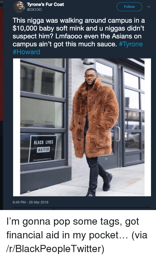 Financial Aid: Tyrone's Fur Coat  @Ox10O  Follow  This nigga was walking around campus in a  $10,000 baby soft mink and u niggas didn't  suspect him? Lmfaooo even the Asians on  campus ain't got this much sauce. #Tyrone  # Howard  BLACK LIVES  MATTER  8:49 PM-28 Mar 2018 <p>I&rsquo;m gonna pop some tags, got financial aid in my pocket&hellip; (via /r/BlackPeopleTwitter)</p>