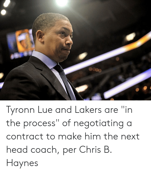 """Head Coach: Tyronn Lue and Lakers are """"in the process"""" of negotiating a contract to make him the next head coach, per Chris B. Haynes"""
