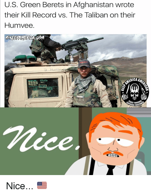 green berets: U.S. Green Berets in Afghanistan wrote  their Kill Record ws. The Taliban on their  Humvee  AFRICA  SCORE  US Nice... 🇺🇸