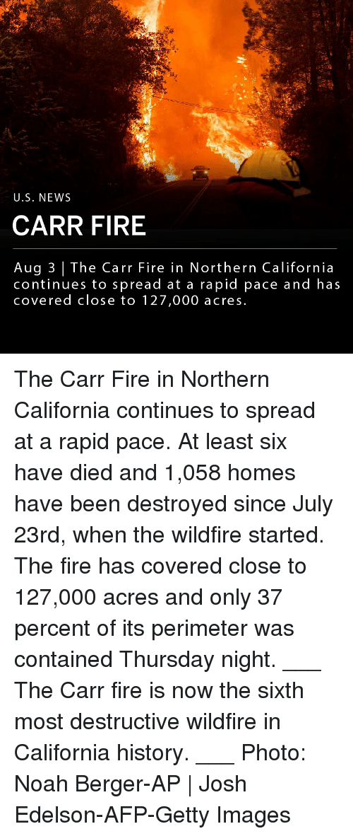 Fire, Memes, and News: U.S. NEWS  CARR FIRE  Aug 3 | The Carr Fire in Northern California  continues to spread at a rapid pace and has  covered close to 127,000 acres The Carr Fire in Northern California continues to spread at a rapid pace. At least six have died and 1,058 homes have been destroyed since July 23rd, when the wildfire started. The fire has covered close to 127,000 acres and only 37 percent of its perimeter was contained Thursday night. ___ The Carr fire is now the sixth most destructive wildfire in California history. ___ Photo: Noah Berger-AP | Josh Edelson-AFP-Getty Images