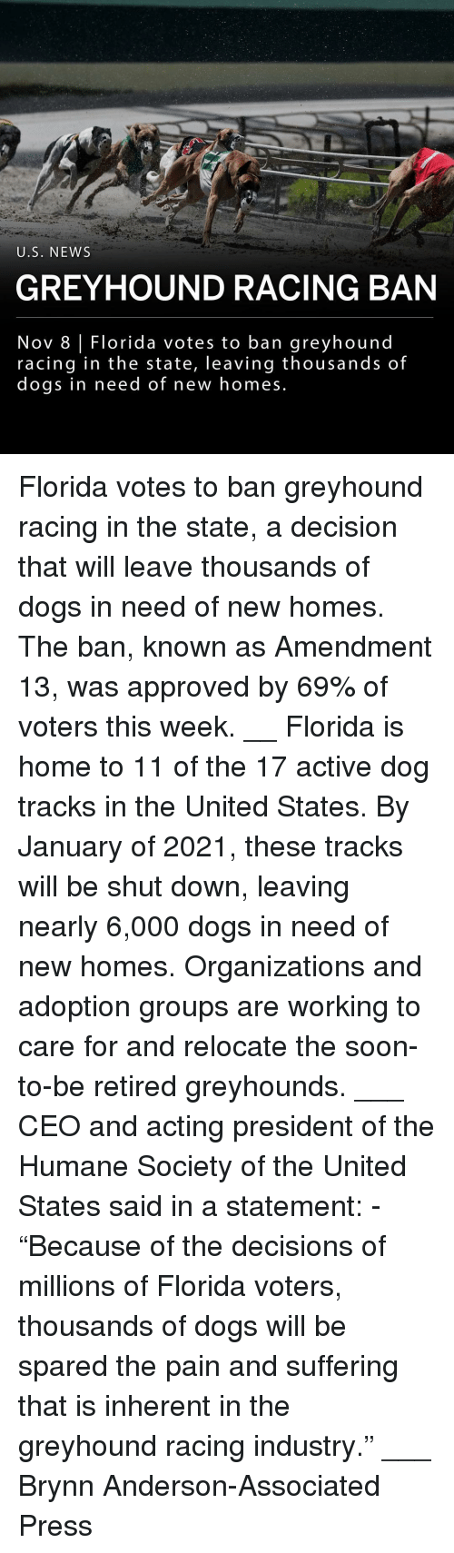 """Dogs, Memes, and News: U.S. NEWS  GREYHOUND RACING BAN  Nov 8 Florida votes to ban greyhound  racing in the state, leaving thousands of  doqs in need of new homes Florida votes to ban greyhound racing in the state, a decision that will leave thousands of dogs in need of new homes. The ban, known as Amendment 13, was approved by 69% of voters this week. __ Florida is home to 11 of the 17 active dog tracks in the United States. By January of 2021, these tracks will be shut down, leaving nearly 6,000 dogs in need of new homes. Organizations and adoption groups are working to care for and relocate the soon-to-be retired greyhounds. ___ CEO and acting president of the Humane Society of the United States said in a statement: - """"Because of the decisions of millions of Florida voters, thousands of dogs will be spared the pain and suffering that is inherent in the greyhound racing industry."""" ___ Brynn Anderson-Associated Press"""