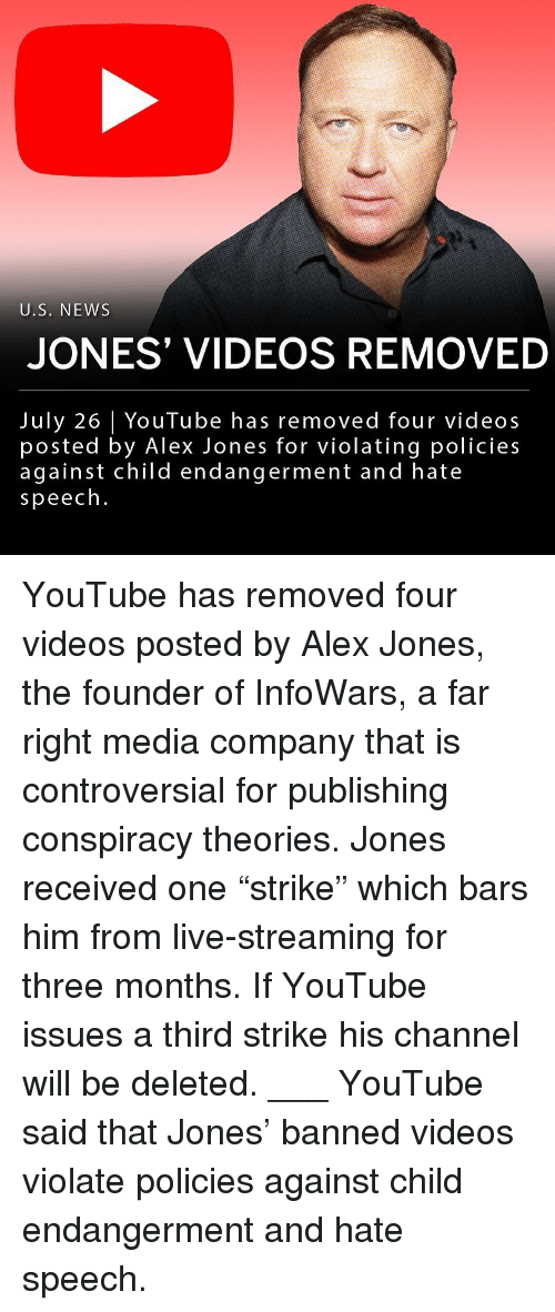 "Memes, News, and Videos: U.S. NEWS  JONES VIDEOS REMOVED  July 26 YouTube has removed four videos  posted by Alex Jones for violating policies  against child endangerment and hate  speech. YouTube has removed four videos posted by Alex Jones, the founder of InfoWars, a far right media company that is controversial for publishing conspiracy theories. Jones received one ""strike"" which bars him from live-streaming for three months. If YouTube issues a third strike his channel will be deleted. ___ YouTube said that Jones' banned videos violate policies against child endangerment and hate speech."