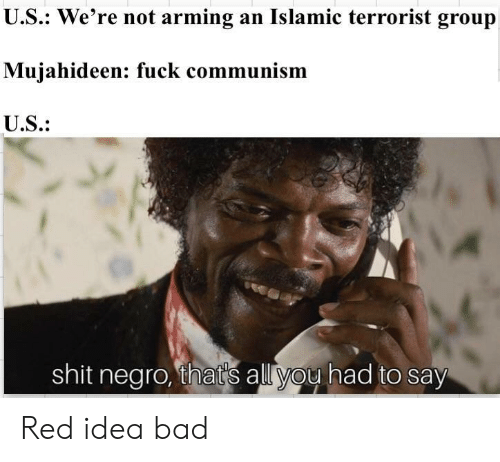 Bad, Shit, and Fuck: U.S.: We're not arming an Islamic terrorist group  Mujahideen: fuck communism  U.S.:  shit nearo, that's all vou had to say Red idea bad