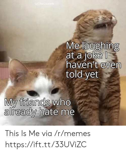 this is me: u/TheUseleb  Me laughing  at a joke  haven't even  told yet  My friends who  already hate me This Is Me via /r/memes https://ift.tt/33UViZC