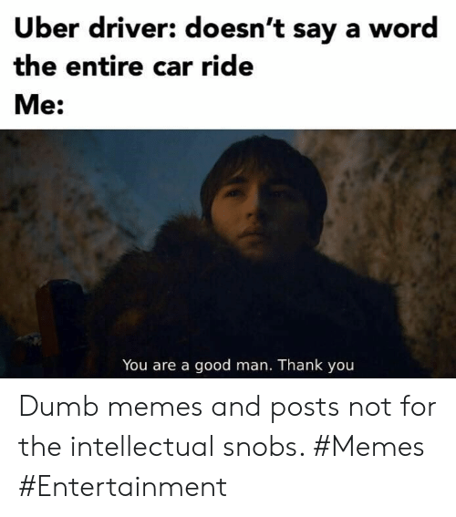 intellectual: Uber driver: doesn't say a word  the entire car ride  Me:  You are a good man. Thank you Dumb memes and posts not for the intellectual snobs. #Memes #Entertainment