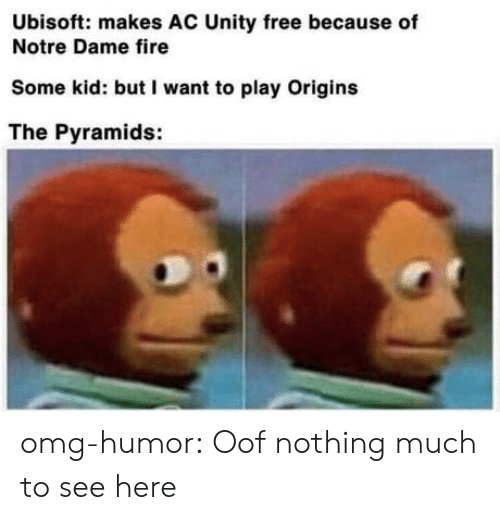 Notre Dame: Ubisoft: makes AC Unity free because of  Notre Dame fire  Some kid: but I want to play Origins  The Pyramids: omg-humor:  Oof nothing much to see here