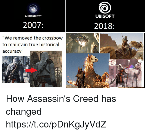 """Ubisoft: UBISOFT  UBISOFT  2007  2018  """"We removed the crossbow  to maintain true historical  accuracy'"""" How Assassin's Creed has changed https://t.co/pDnKgJyVdZ"""
