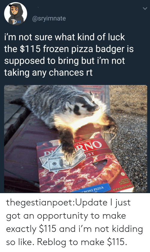 badger: UCk  i'm not sure what kind of luck  the $115 frozen pizza badger is  supposed to bring but i'm not  taking any chances rt  ST  DONI PIZZA thegestianpoet:Update I just got an opportunity to make exactly $115 and i'm not kidding so like. Reblog to make $115.