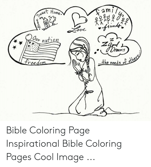 Bible Coloring: ueet Home  ami  Oun nation  Oreams  freedom  the needs of others  N  OK  Home Bible Coloring Page Inspirational Bible Coloring Pages Cool Image ...