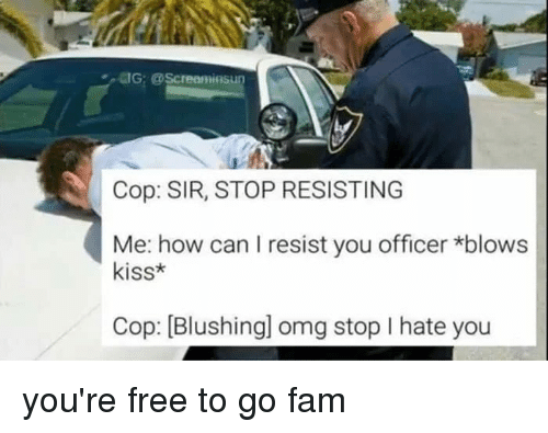 Youre Free: UG: @Screaminsu  Cop: SIR, STOP RESISTING  Me: how can I resist you officer *blows  kiss*  Cop: [Blushingl omg stop I hate you you're free to go fam