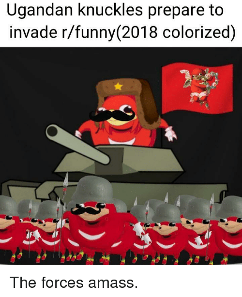 knuckles: Ugandan knuckles prepare to  invade r/funny (2018 colorized) The forces amass.