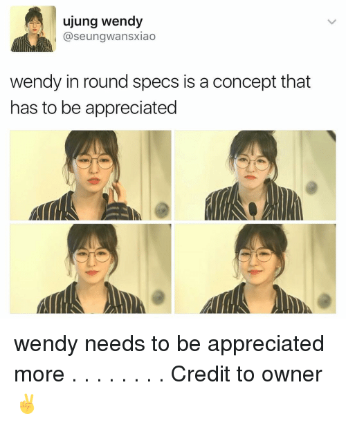 Wendies: ujung wendy  aseungwansxiao  wendy in round specs is a concept that  has to be appreciated wendy needs to be appreciated more . . . . . . . . Credit to owner✌