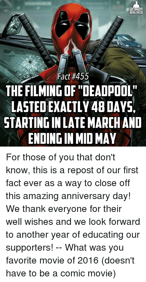 "educationals: ULTIMATE  HERO FACTS  Fact #455  THE FILMING OF ""DEADPOOL""  LASTEDEXACTLY48DAYSA  STARTINGINLATE MARCHAND  ENDINGIN MID MAY For those of you that don't know, this is a repost of our first fact ever as a way to close off this amazing anniversary day! We thank everyone for their well wishes and we look forward to another year of educating our supporters! -- What was you favorite movie of 2016 (doesn't have to be a comic movie)"
