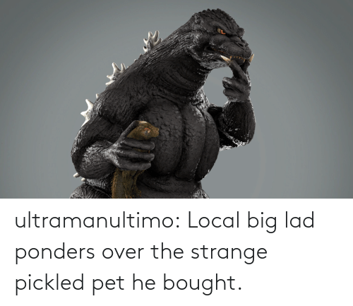 local: ultramanultimo:   Local big lad ponders over the strange pickled pet he bought.